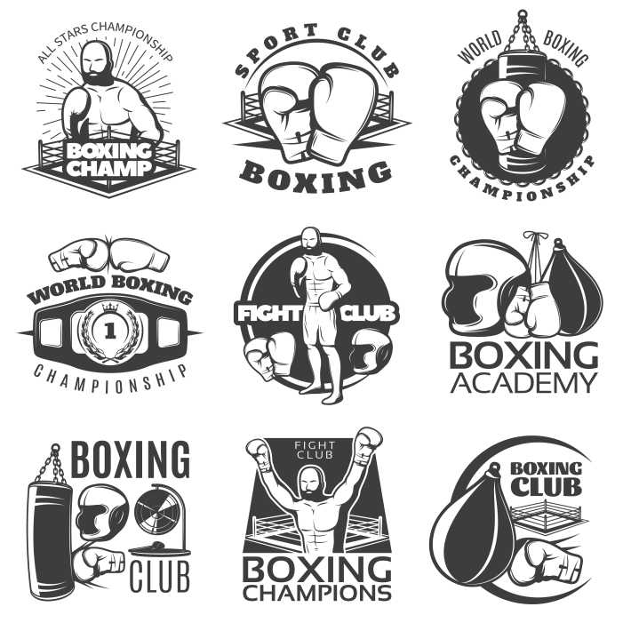 boxing black white emblems of clubs and championships with 1