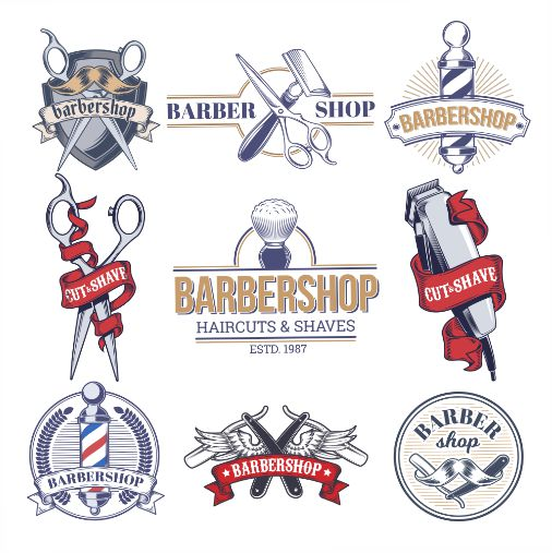 collection badges logos with barbershop tools 1