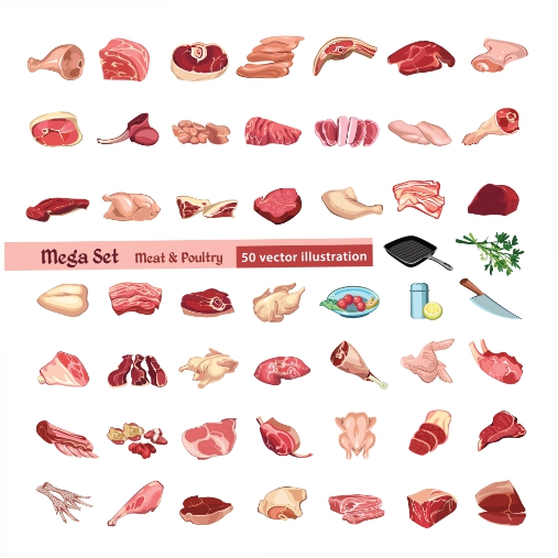 colored poultry meat elements set 1