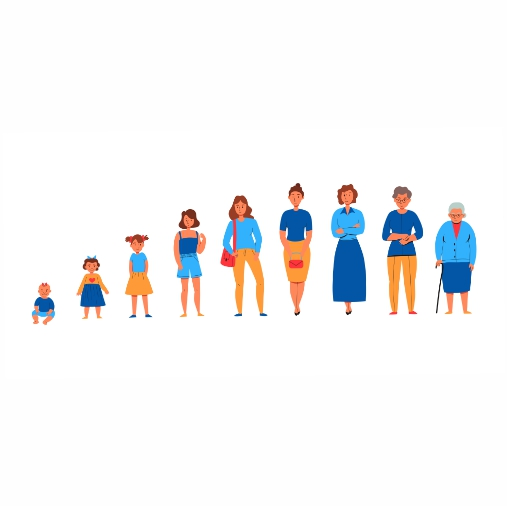colorful flat set icons showing women from various generations isolated 1