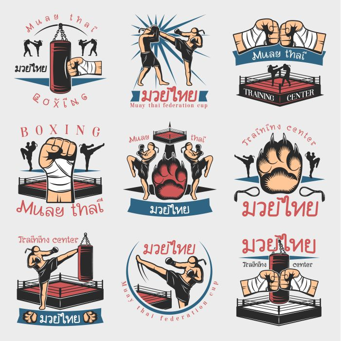 colorful kickboxing emblems set 1