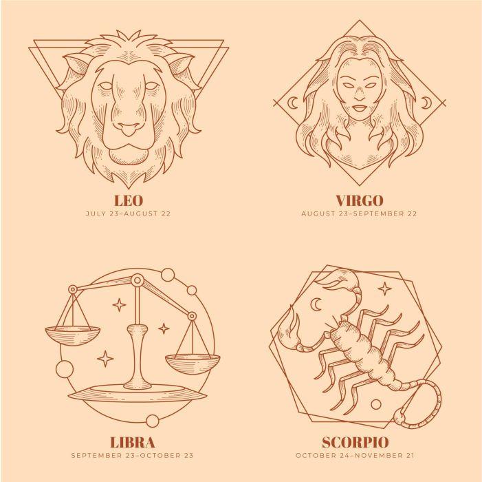 engraving hand drawn zodiac signs set 1