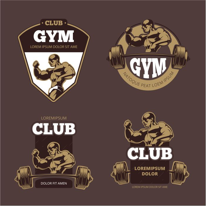 fitness bodybuilder sports retro emblems labels badges logos 1