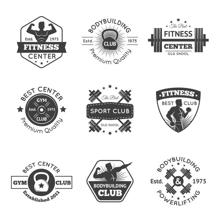 fitness gym emblems set 1