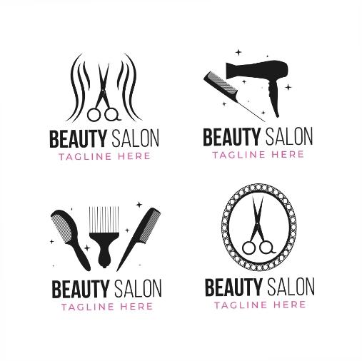 flat hand drawn hair salon logo collection 1
