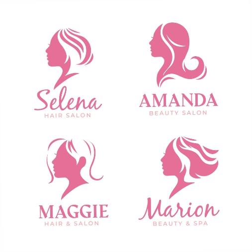 flat hand drawn hair salon logo collection 2 1