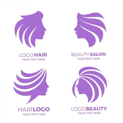 flat hand drawn hair salon logo set 1