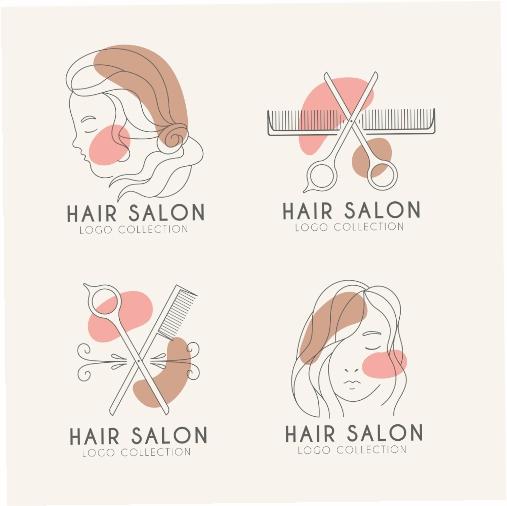 flat hand drawn hair salon logo set 4 1