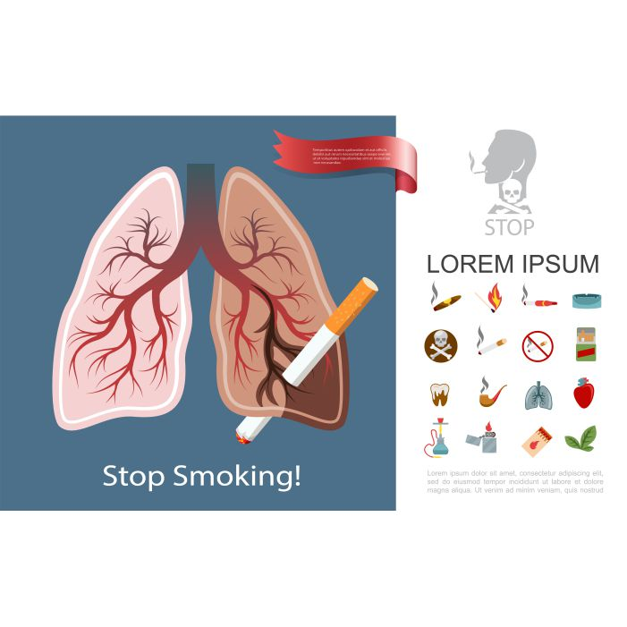 flat smoking addiction composition with smoker lungs cigarettes cigar pipe 1