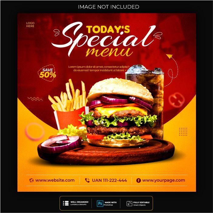 food social media promotion instagram banner post design template 1