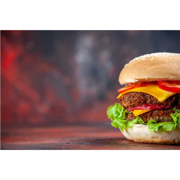 front view tasty meat burger with cheese salad dark background 1