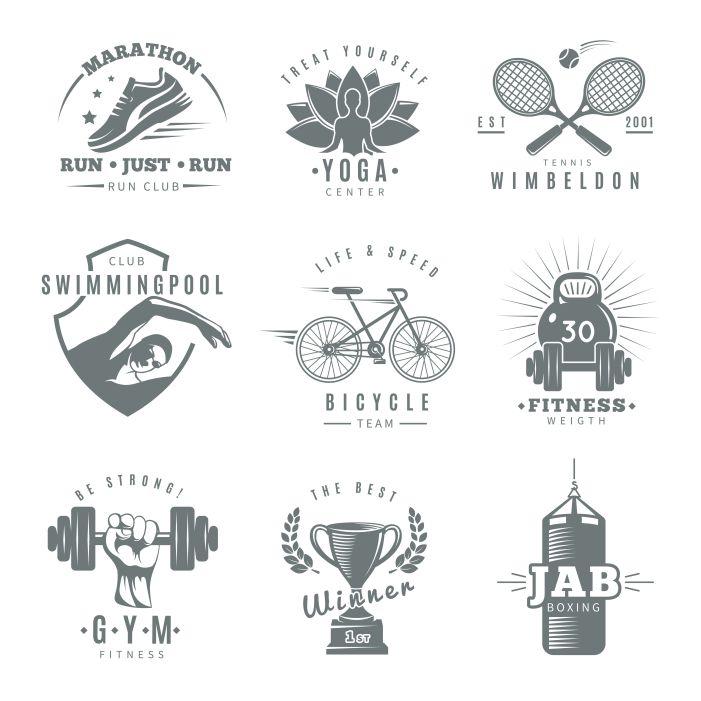 gray isolated fitness gym logo set with marathon run club tennis wimbledon jab boxing descriptions 1