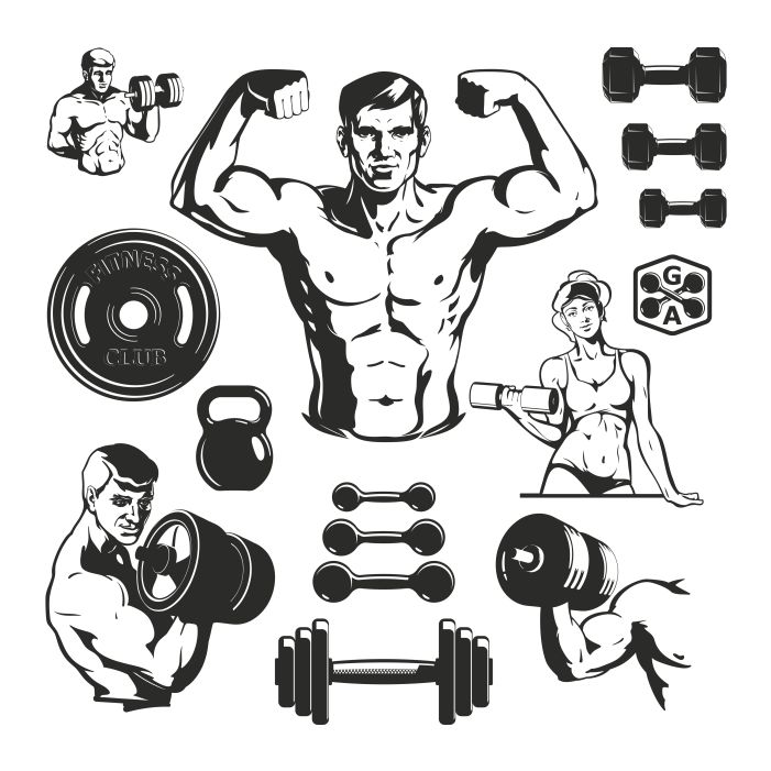 gym fitness elements set 1