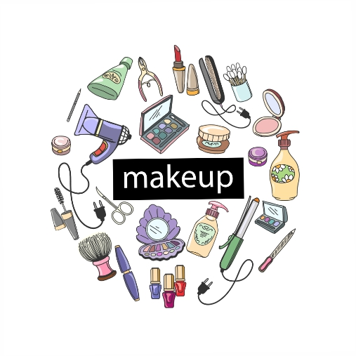 hand drawn cosmetics round with makeup products illustration 1
