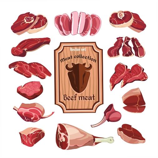 hand drawn meat elements set 1