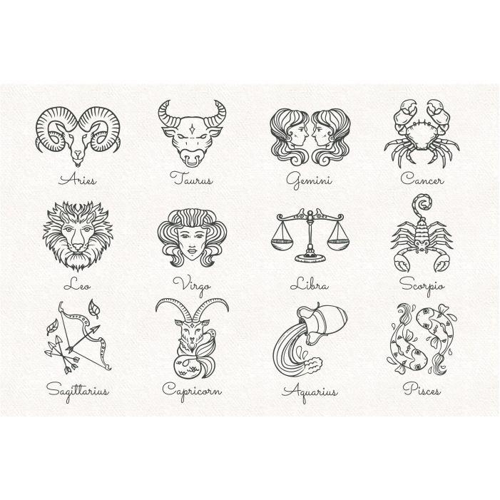 hand drawn zodiac signs set 1