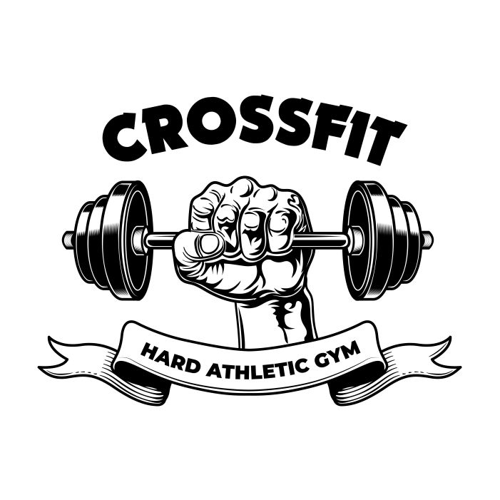 hard athletic fitness club gym vintage emblem bodybuilder arm with barbell 1