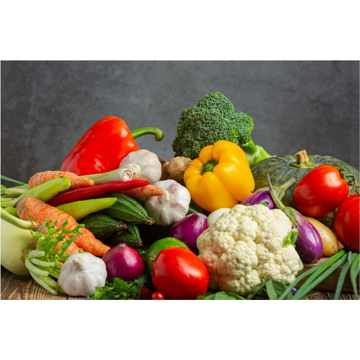 healthy vegetables wooden table 1