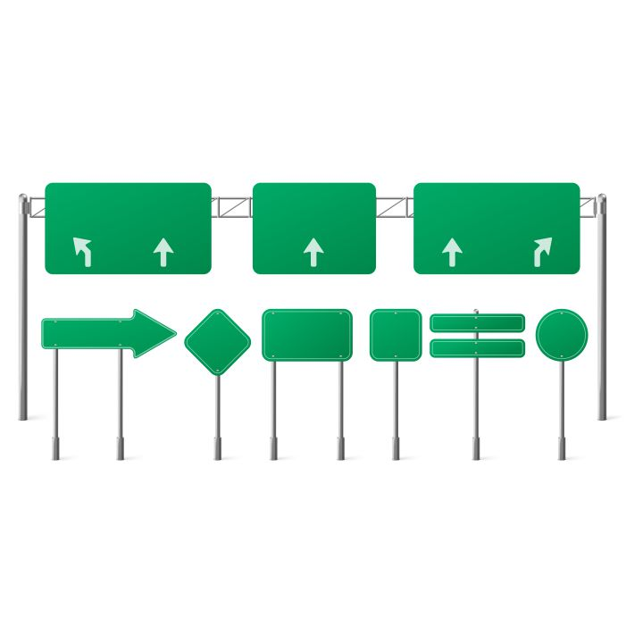 highway green road signs blank signage boards on steel poles for pointing city traffic direction 1