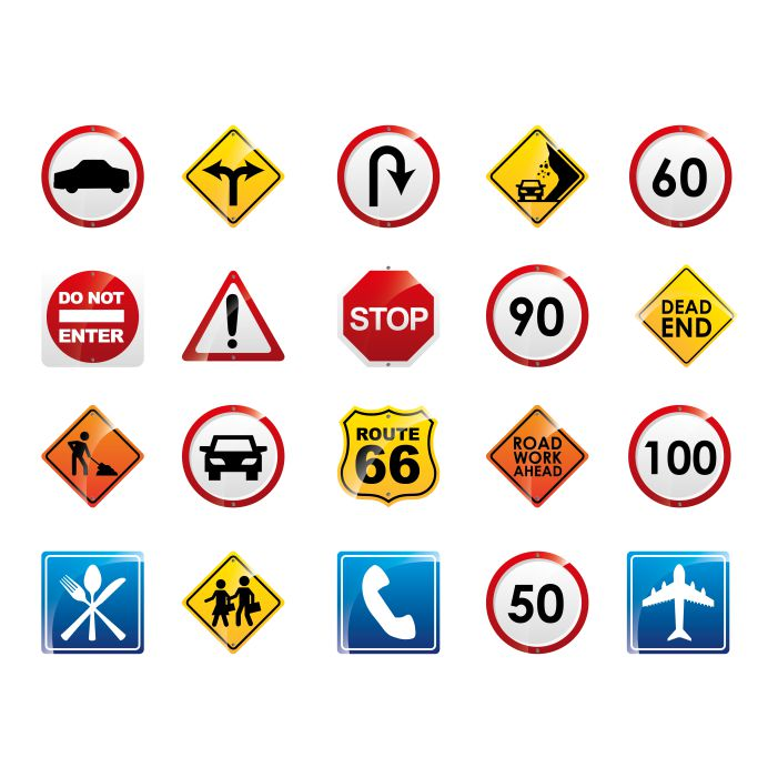 isolated road sign icon set 1