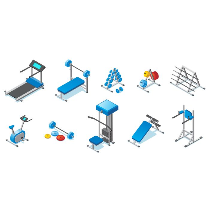isometric fitness equipment collection with treadmill dumbbells barbells exercise bike different 1