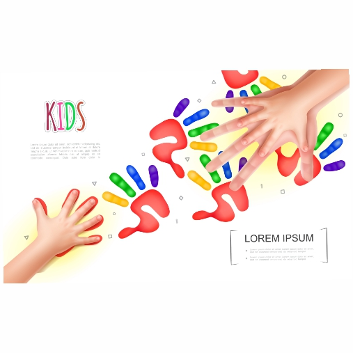 light kids hands concept with realistic mother baby hands colorful child handprints 1