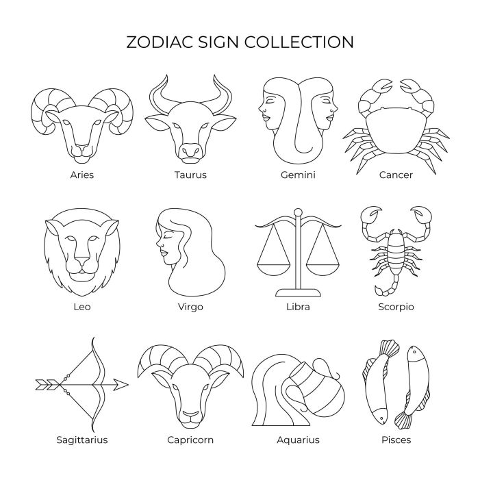 linear flat zodiac sign collection illustration 1