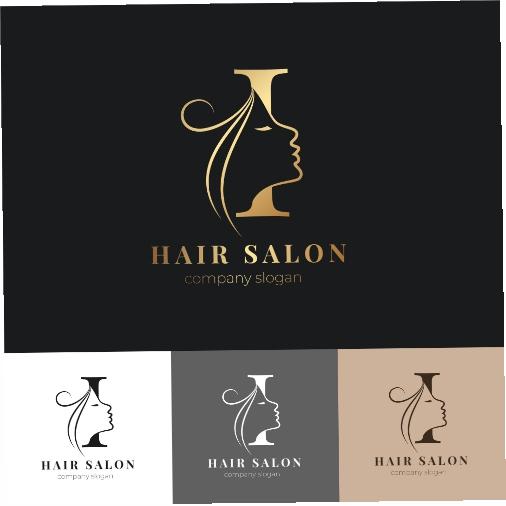 luxury hair salon logo set 1