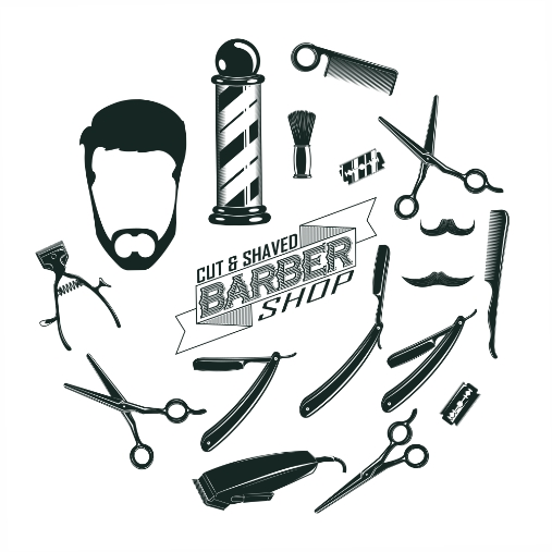 monochrome vintage barber shop elements concept 1