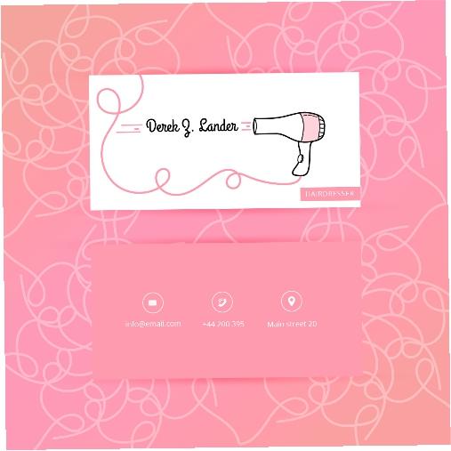 pink fashion hairdresser business card 1
