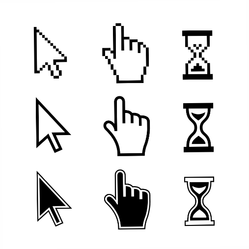 pixel cursors icons mouse hand arrow hourglass vector illustration 1