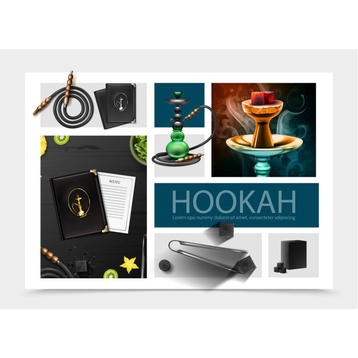 realistic hookah bar composition with menu cover card shisha hose tobacco tongs coal cubes fruits slices 1