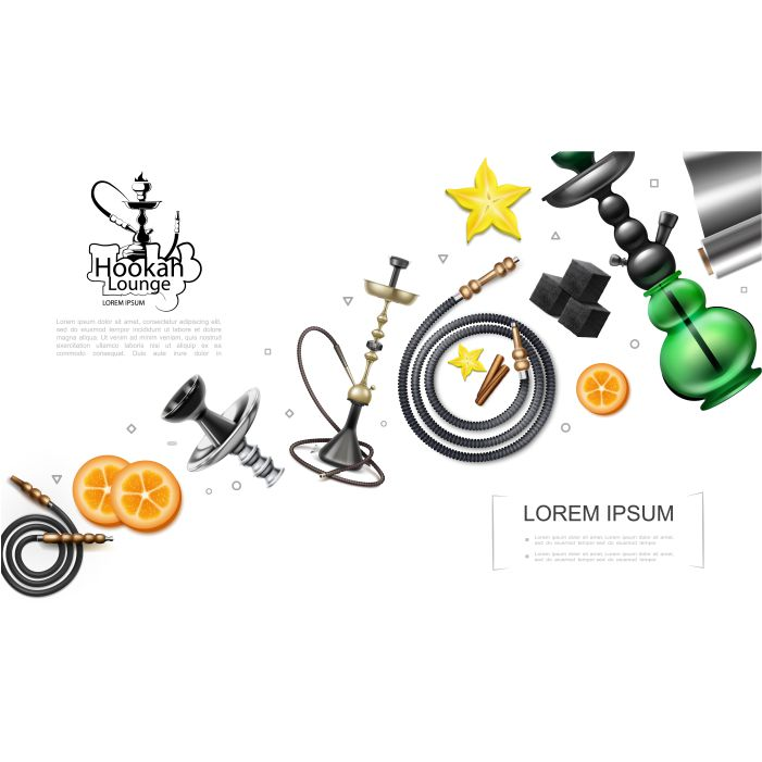 realistic hookah elements concept with pipes tubes hookahs orange slices charcoal cubes foil star anise 1