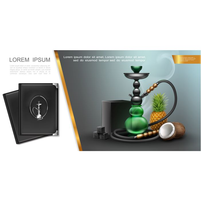 realistic hookah lounge elements concept with shisha charcoal box cubes pineapple coconut menu covers 1
