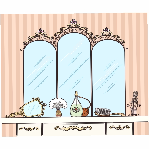 retro dressing table vector mirror hairbrush perfumes cosmetics furniture 1
