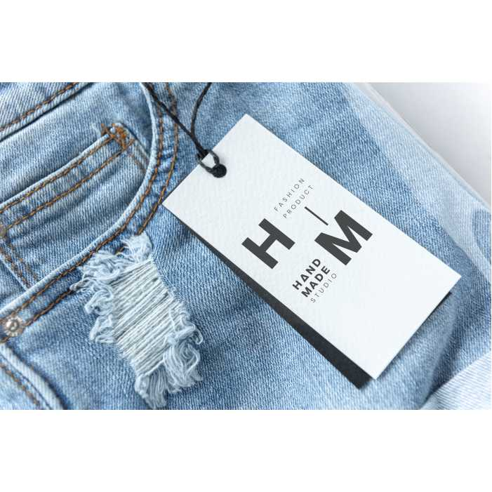 ripped jean shorts with tag mockup 1