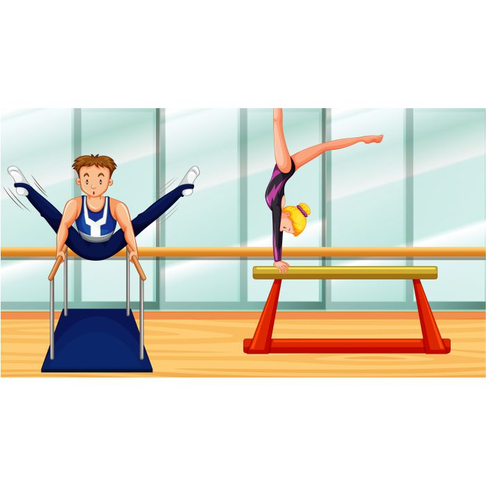 scene with two people doing gymnastic room 1