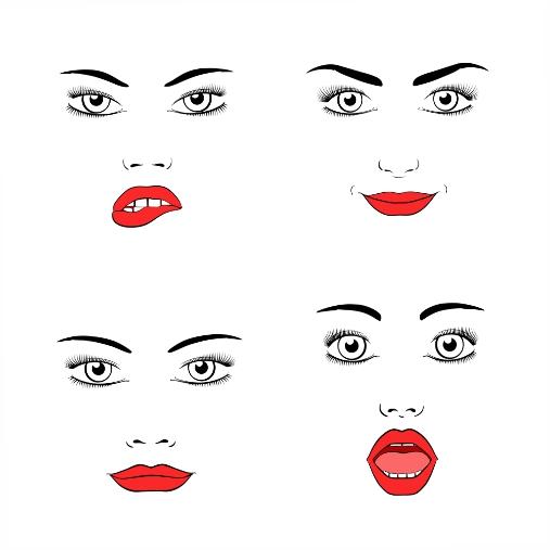 set beautiful woman face silhouette emotions joy surprise anger 1