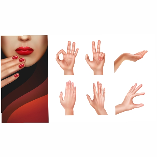 set different hands with showing gestures manicured nails 1