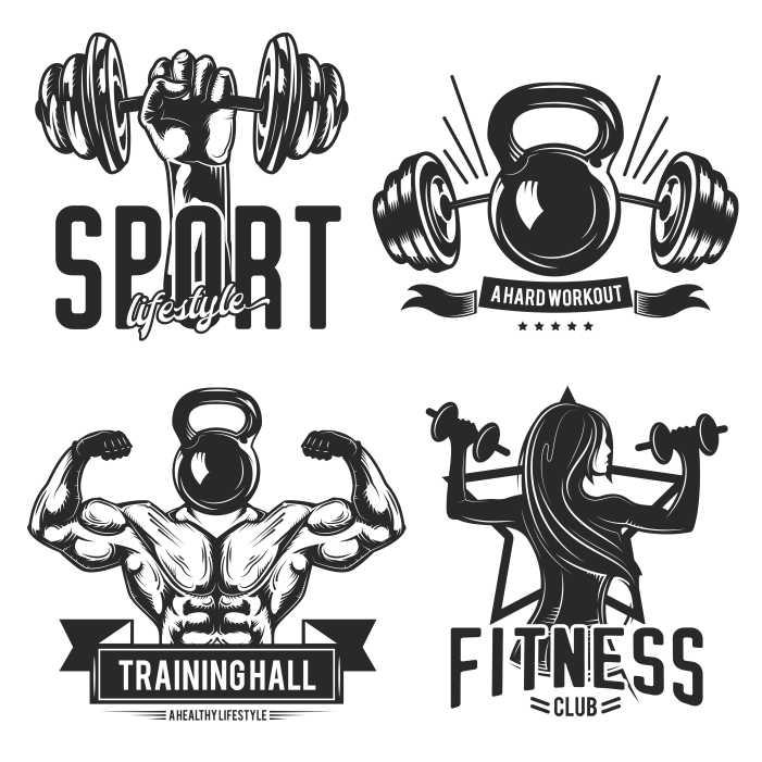 set gym emblems labels badges logos isolated white 1
