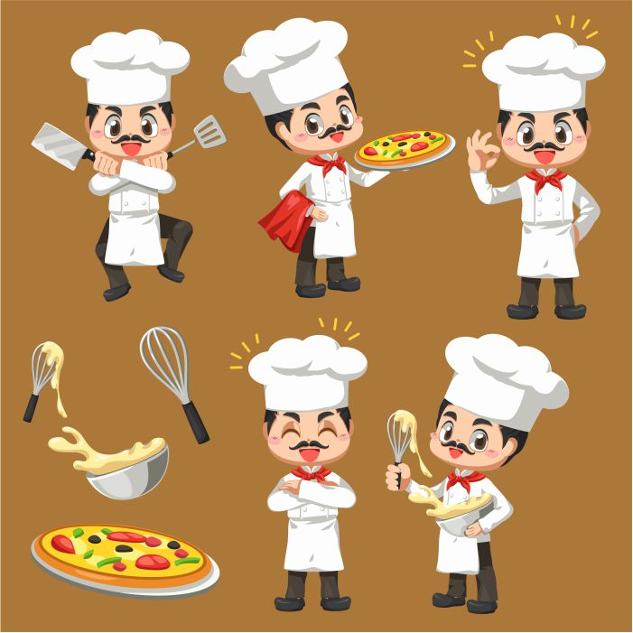 set of chef man making the bakery in cartoon character mascot in illustration design for culinary b 1