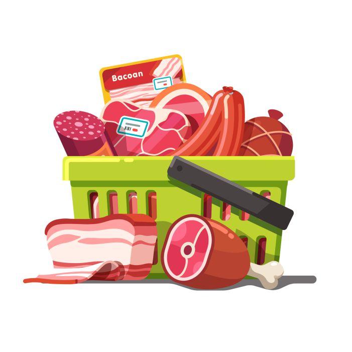shopping basket full meat raw prepared 1