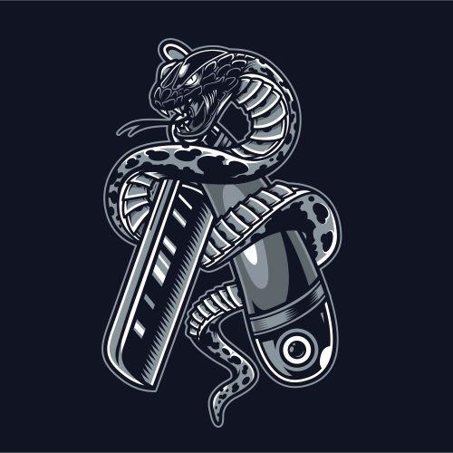 snake is wrapped around straight razor 1