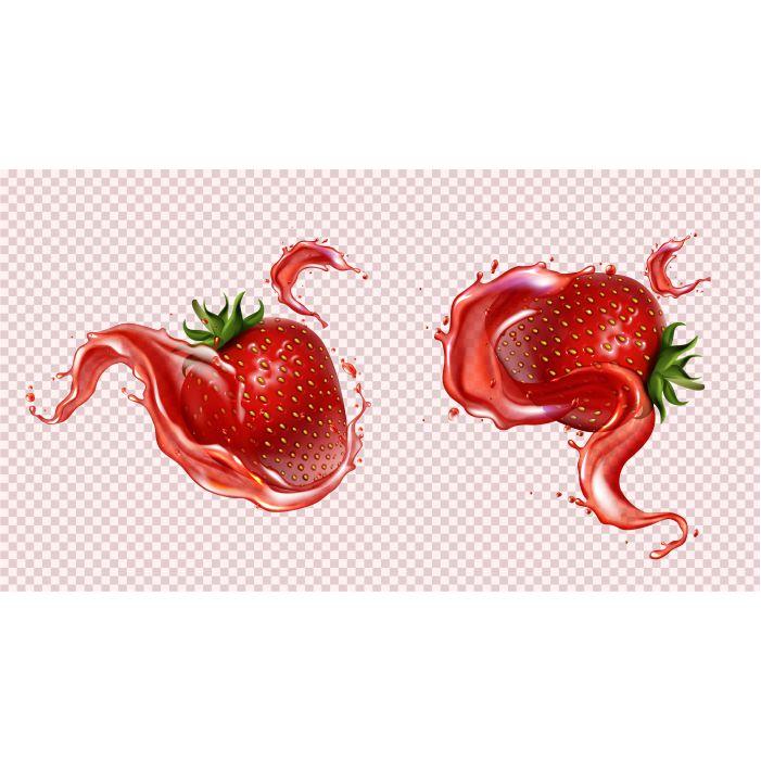 strawberry with juice splash realistic isolated 1