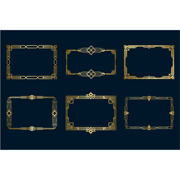 various vintage golden frames set 1