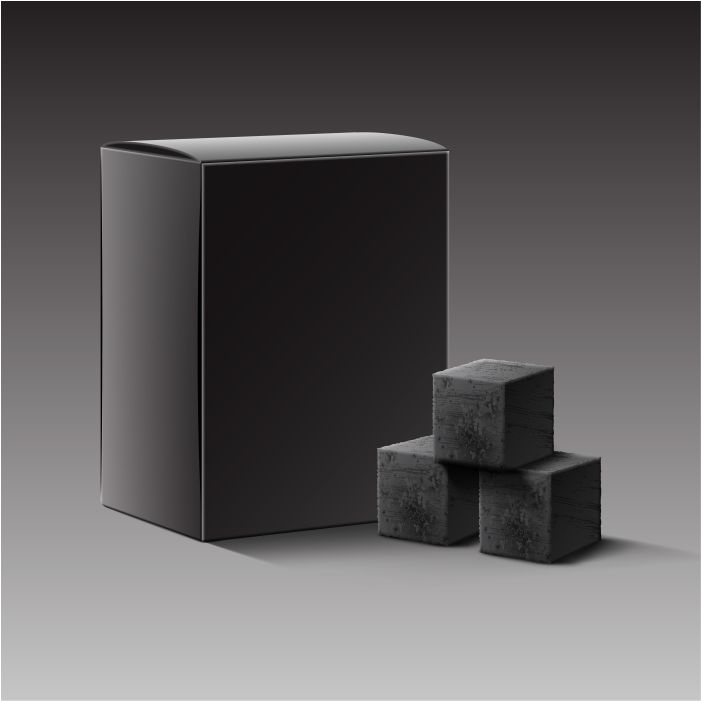 vector black blank carton box charcoal cubes hookah pipe isolated dark background 1