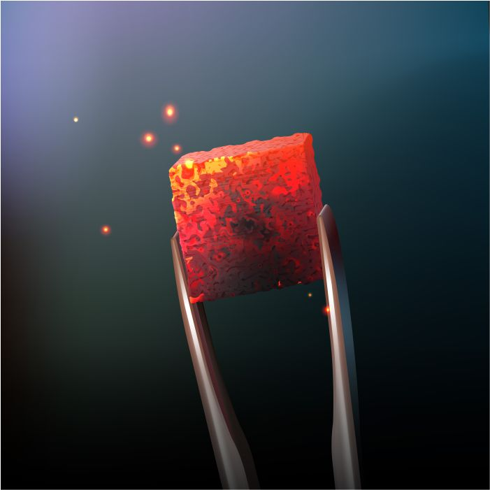 vector hookah hot coal with tongs close up side view blur dark background 1