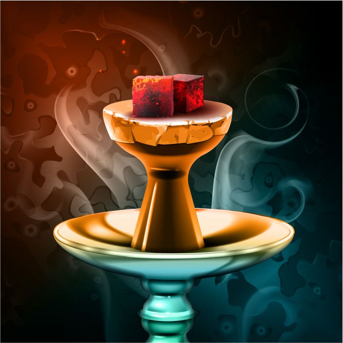 vector hookah hot coals on shisha bowl with steam on colorful background close up front view 1