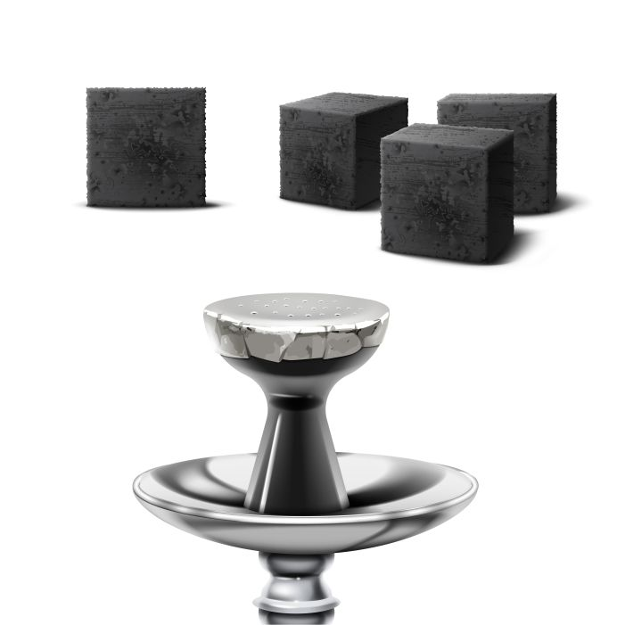 vector set charcoal cubes hookah pipe different foreshortening isolated white background 1