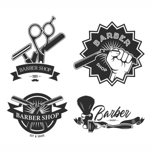 vintage barbershop flat labels set monochrome emblems with barber 1 1